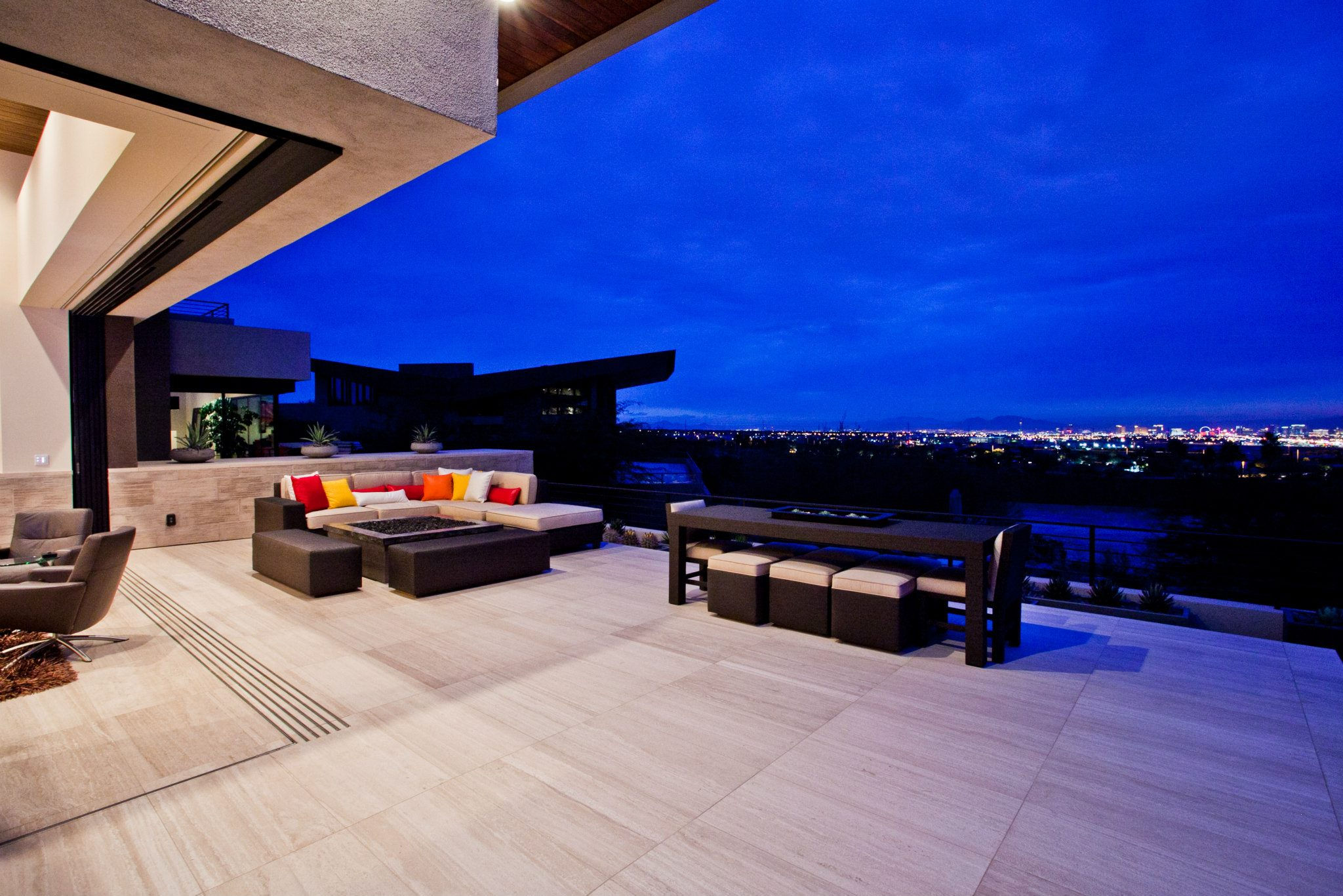 Patio area with amazing view of Vegas' blue skies
